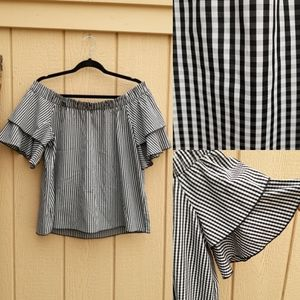 Off The Shoulder Pleated Gingham Layered P…